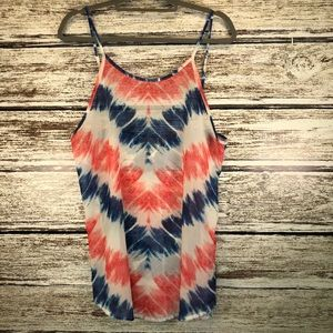 OP Swim Cover Up red white blue tie dye print L